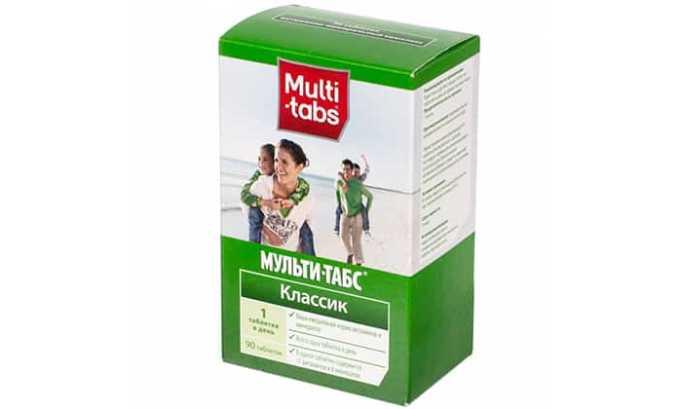 В состав Мульти-табса входят витамины А, В, С, Е, фолиевая кислота, селен, йод и минеральный комплекс