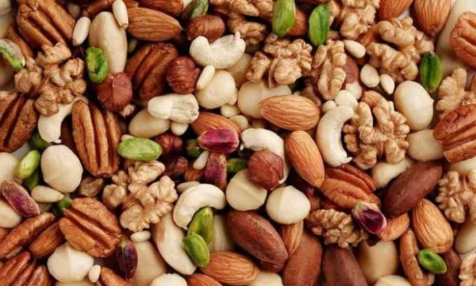 В орехах высокое содержание витамина Е