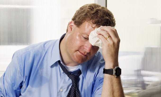 Прием препарата может вызвать повышенное потоотделение