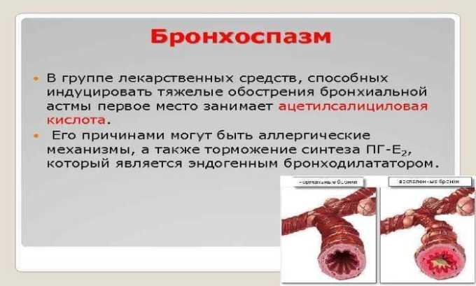 При передозировке препаратом возможно появление бронхоспазма