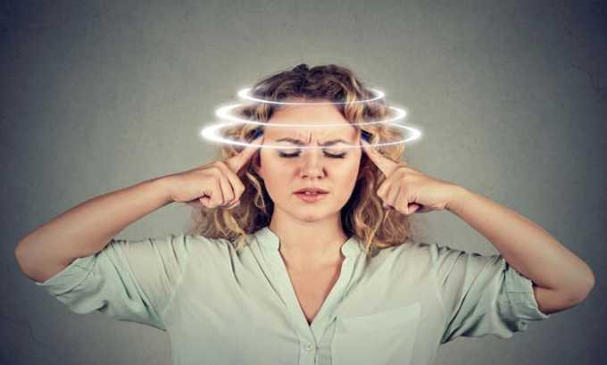 К признакам передозировки препаратом относят головокружение