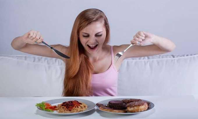 При чрезмерном употреблении лекарства может появиться усиленного аппетита