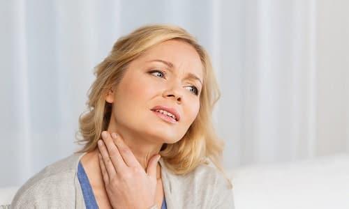 Зоб на шее и боль в этой области могут возникать из-за сдавливания окружающих тканей увеличивающейся железой. Они сопровождаются покалыванием и чувством комка в горле