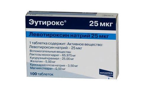 Эутирокс 25 используется для лечения эутиреоидного зоба, гипотиреоза и рака щитовидной железы